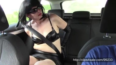 Angela in leather miniskirt handcuffed and transported (SAMPLE)