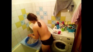 Spying caught like a naked mother washing clothes - MyNakedStepmother