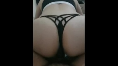Black thongs panties are fucked by my step son