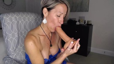 Mature Blondie Sucks Dildo