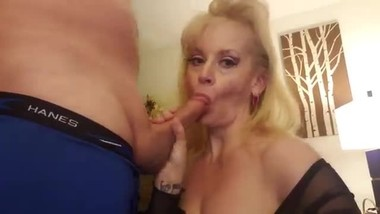 THICK Milf Big Tits Step Mom watches porn Blowjob Son Cums On Tits TABOO