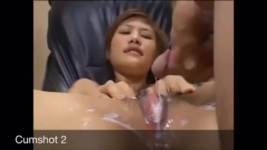 Cumshots of about 25 men collected and poured deep inside me with a funnel.
