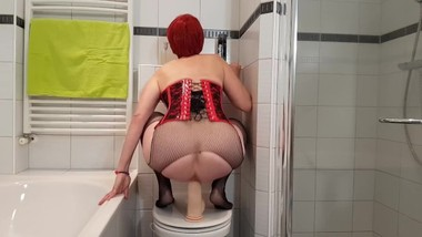 Redhead gets Slutty in the Bathroom