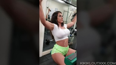 Young Fitness Babe Workout and Public Nudity