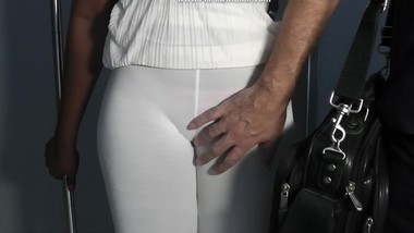 Show and touching her sweet juicy camel toe pussy over clothes in casting