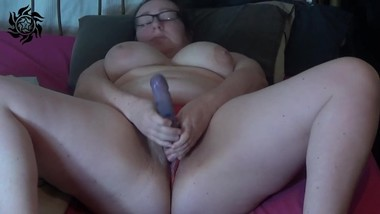 Pregnant milf pussy play, panties stuffed and pissing - big dildo play