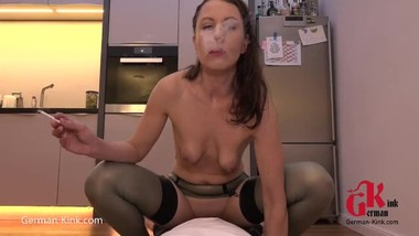 Smoke and Fuck in Latex Stockings