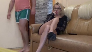 Hot Mom fucking her self  with her son in the house