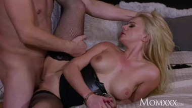 MOM Polish blonde Elizabeth Romanova handcuffed deepthroat and doggy fuck