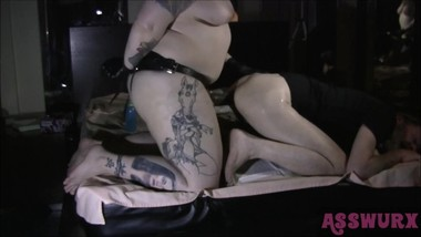 Tattooed Domme Pegs His Ass With A Big Black Cock short version