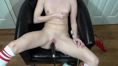 In a chair getting fucked by my fucking machine and playing with breastmilk