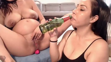 Pregnant girl drink beer - lesbian licking and fisting