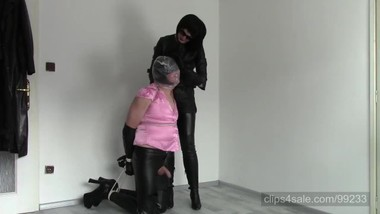 Kneeling tied up sissy: Plastic bag