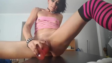 Cleo the Horny MILF Cums over and over in the kitchen with a big pink dildo