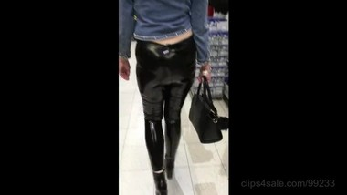 On public in the PVC leggings
