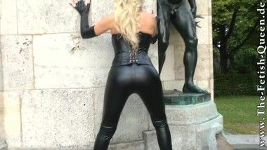 Blonde in black leather