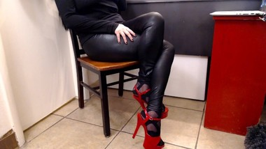 Double Crossed Legs In Leather Pants & Hot Heels