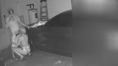 Milf caught blowing sons best friend by hidden cam in garage