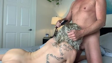 Sloane rides his cock and squirts all over his cock!