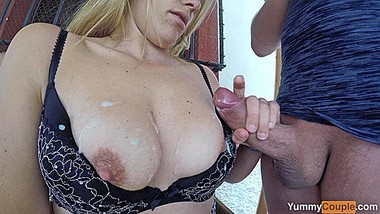 Cumshot Selfie! Hot MILF films herself milking two huge cum loads on tits