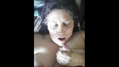 Amature blowjob in POV with facial