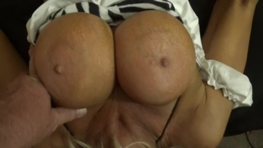 Young busty mom UPSIDE DOWN BLOWJOB SUCKING BIG COCK DEEP CHOKING