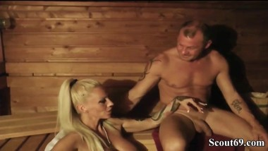 German MILF fucking in the sauna
