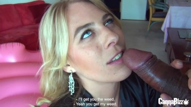 BLOND SLUT HIGH ON WEED IS HUNGRY FOR BBC 420DAY