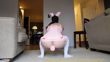 Mature mom Easter Bunny Butt Plug Tail Squats