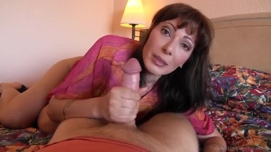 Horny stepmom teases and seduces her son at vacation