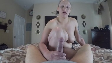 Handjob from big titty Native American POV
