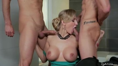 Blonde In Stockings Kayla Green Gets A Hardcore Fuck With Two Cocks
