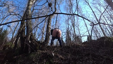 pissing in the woods