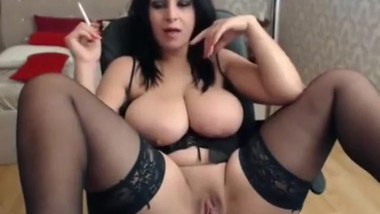 Incredible milf with big boobs and big pussy lips smokes