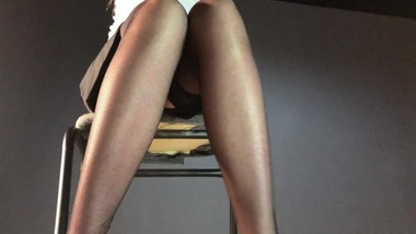 Secretary masturbates at work. Public upskirt