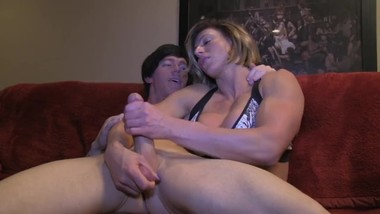 MUSCULAR GIRLFRIEND HELPED HER BOY MASTURBATE