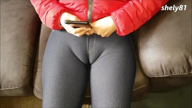 Daddy's sexy girlfriend has a nice swollen pussy, erotic cameltoe!!