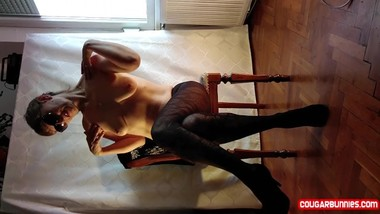 Massaging my clit wearing motif pantyhose dancing around a chair happy MILF