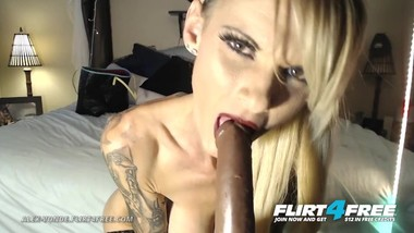 Alex Vonde on Flirt4Free - Kinky Tatted Cougar Sucks and Fucks a Big Dildo