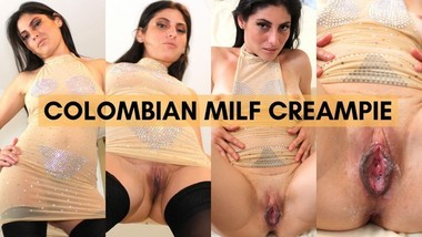 Hot Colombian Mommy Pushes Cum from Her Gaping Cunt After Creampie Finish