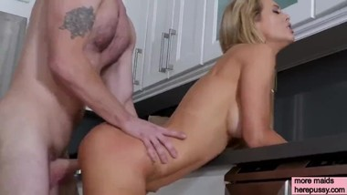 Drunk master fucks his maid on the kitchen table