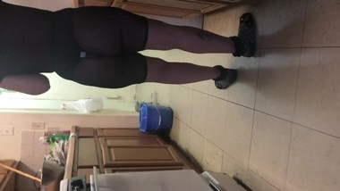 Spying on sister in law cooking in see through outfit