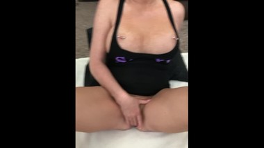 Pierced big tit MILF plays with herself and sucks cock