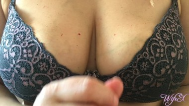 Wife gives hot titfuck in bra with big natural boobs  WifeX