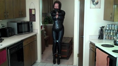 Mature in catsuit bondage gord style