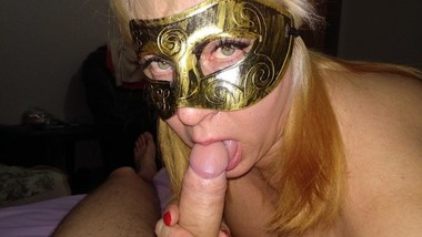 Filled Stepmom with a full mouth full of sperm at the masquerade