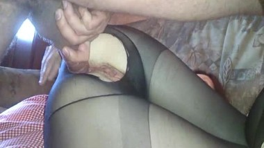 Mature mom weared pantyhose gets anal fuck and cum on pussy